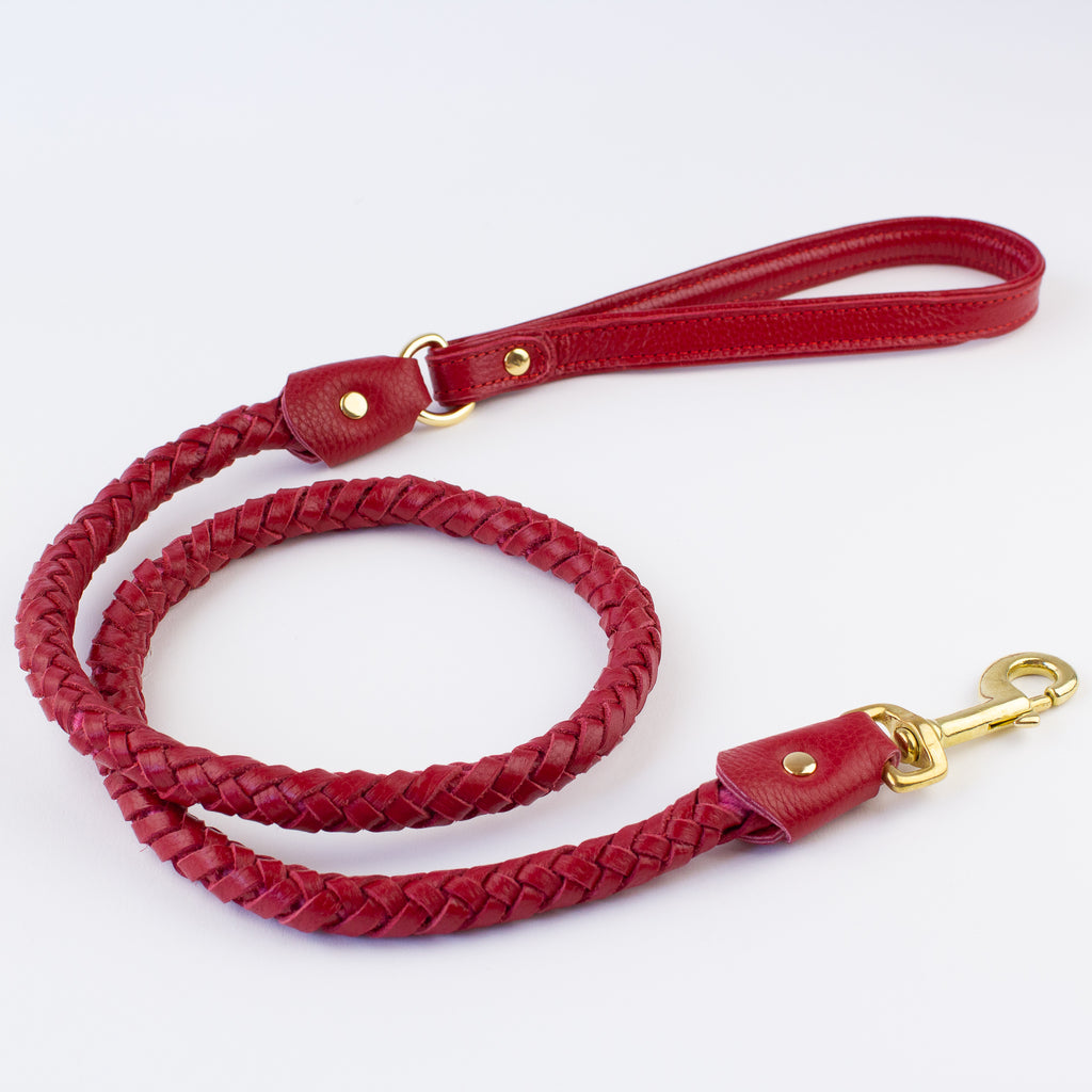 Red pleated leather lead Willow Walks