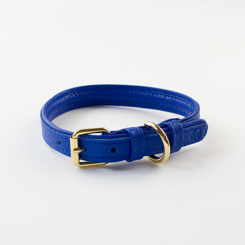 Blue leather collar Willow Walks