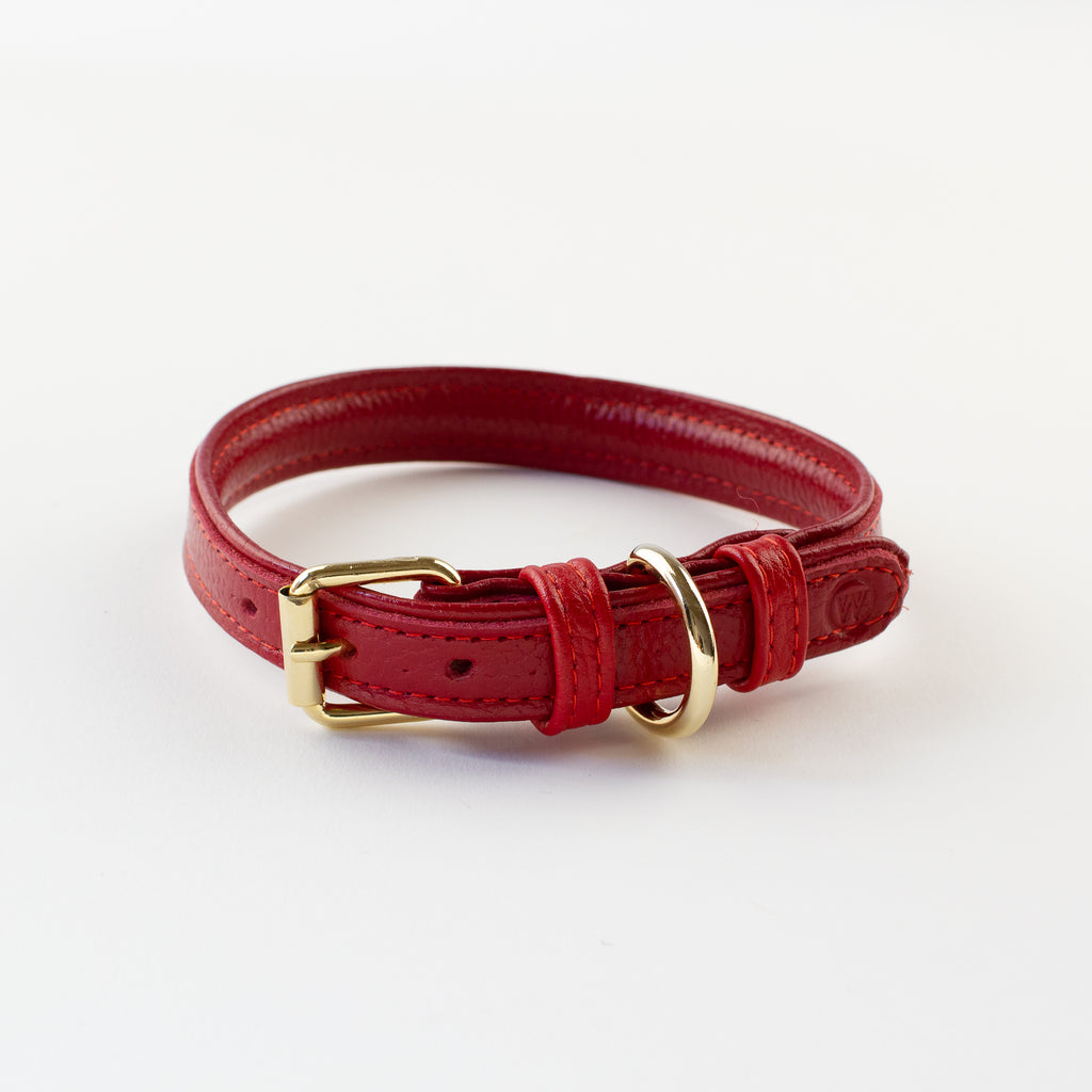 Red leather collar Willow Walks