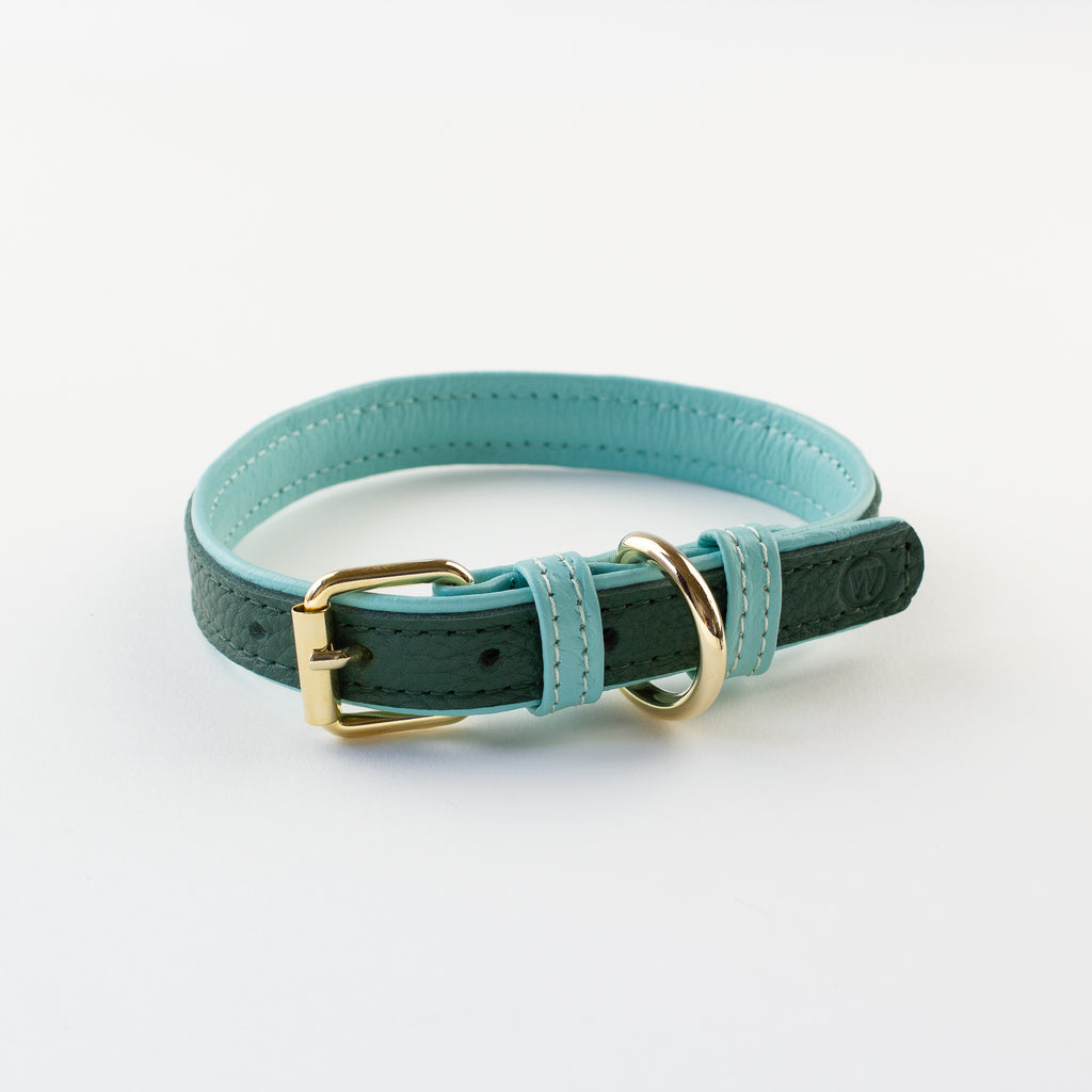 Green leather collar Willow Walks
