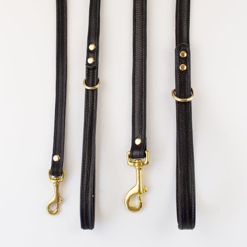 Black dog leather lead Willow Walks