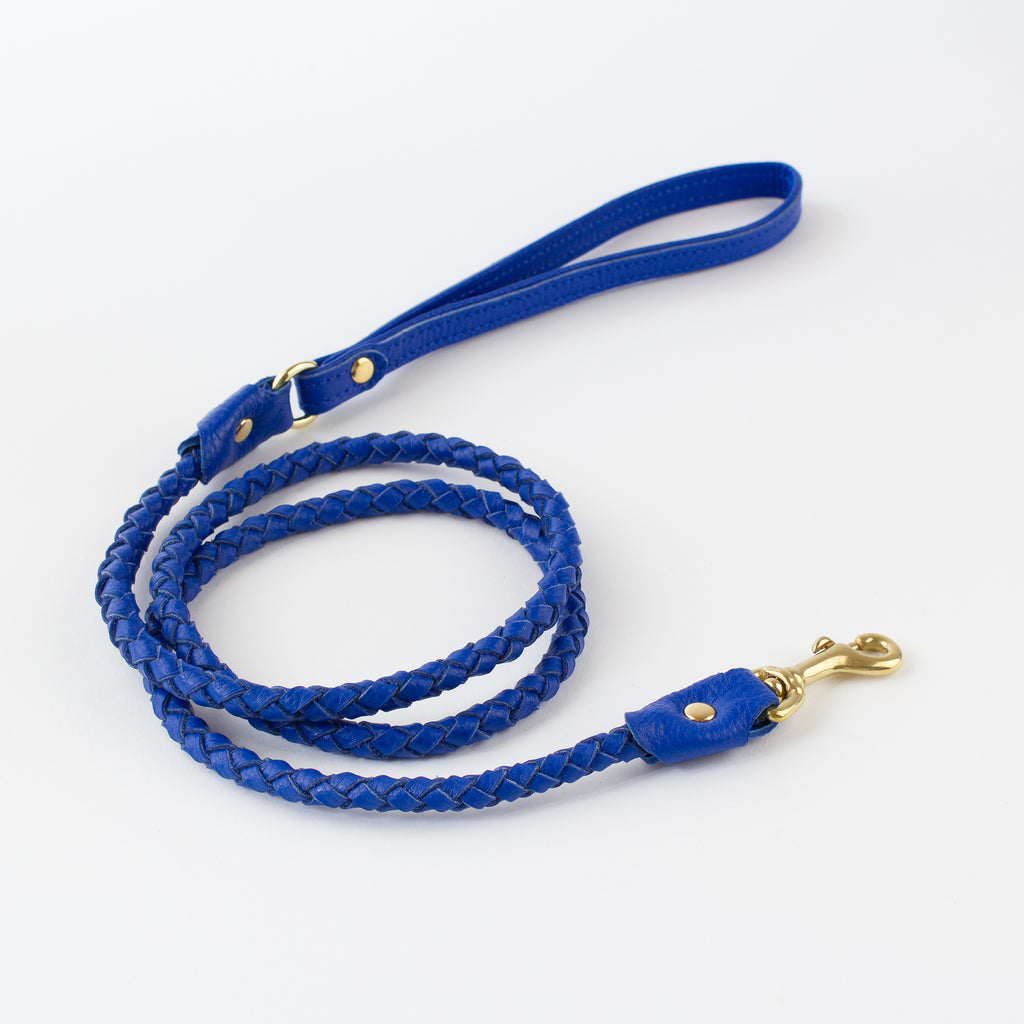 Blue pleated leather lead Willow Walks