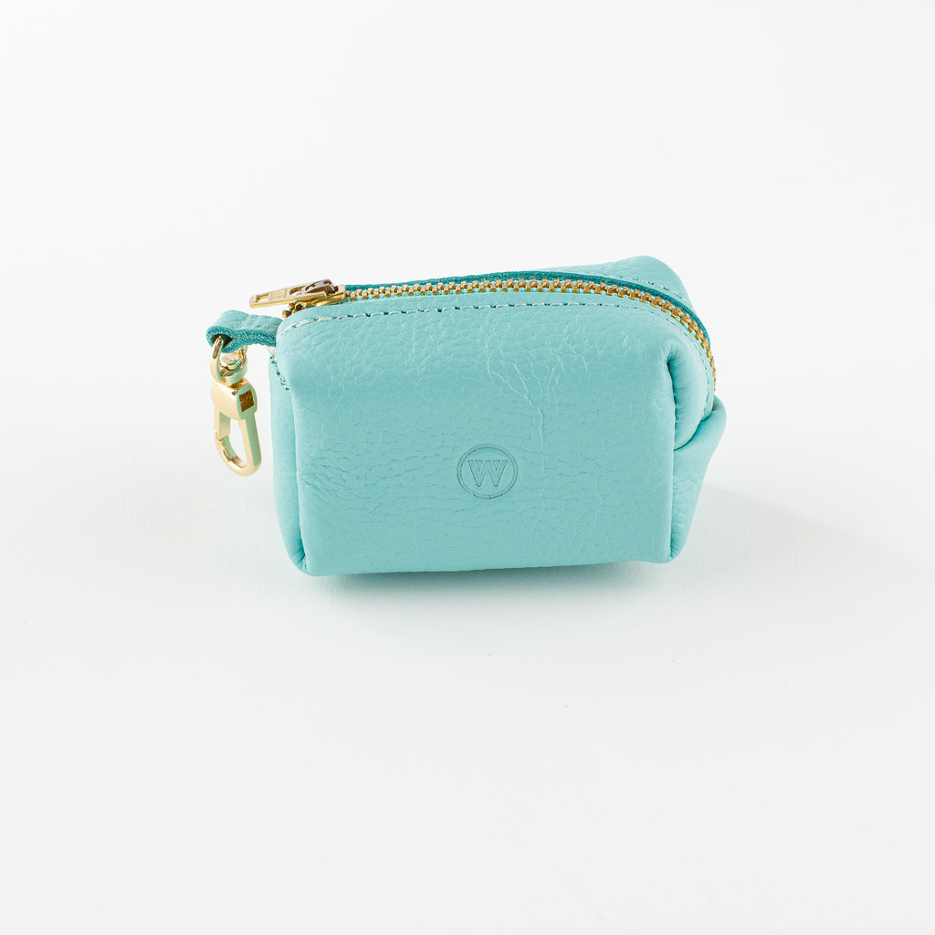 Aqua leather poo bag Willow Walks