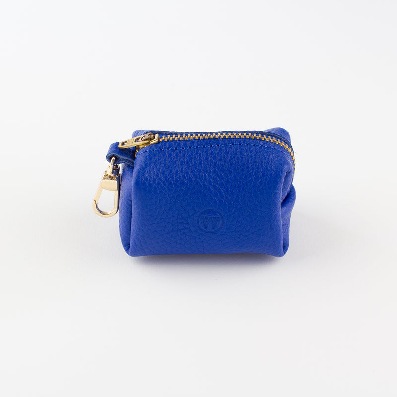 Blue leather poo bag Willow Walks