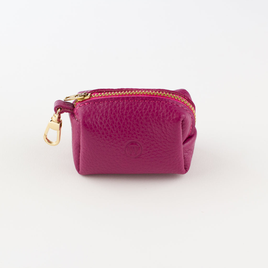 Fuschia leather poo bag Willow Walks