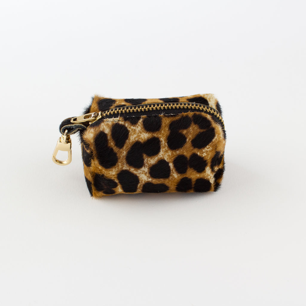 Leopard leather poo bag Willow Walks
