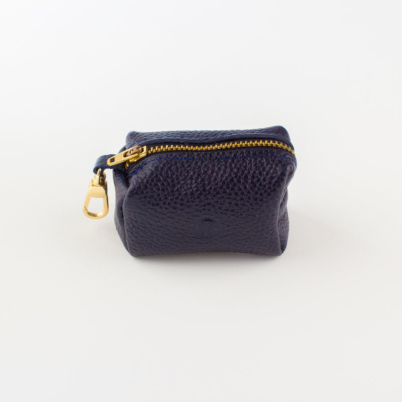 Navy leather poo bag Willow Walks