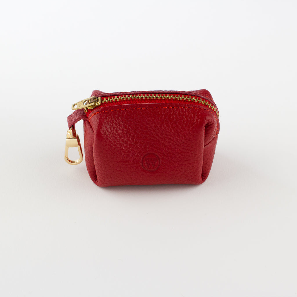 Red leather poo bag Willow Walks