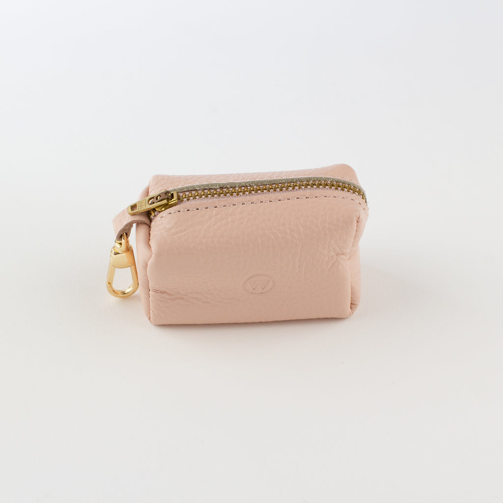 Pink leather poo bag Willow Walks