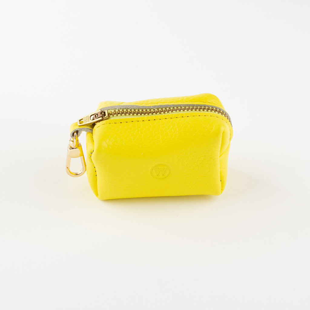 Yellow leather poo bag Willow Walks