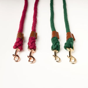 Willow Walks rope lead with leather handle in brown and berry