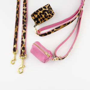 Pink leopard leather poo bag Willow Walks