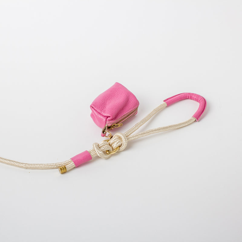 Willow Walks leather poo bag in hot pink