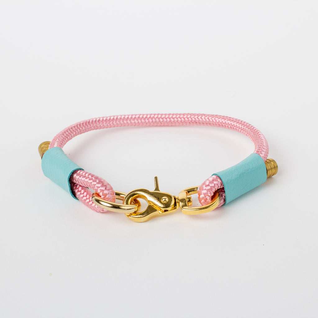 Willow Walks marine rope collar with leather details in pink and aqua
