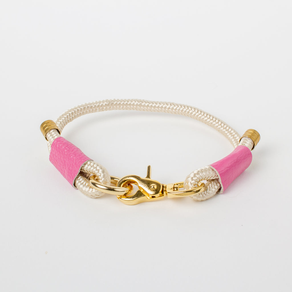 Willow Walks marine rope collar with leather details in ecru and hot pink