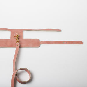 Willow Walks double sided leather lead with croc effect in dusky pink