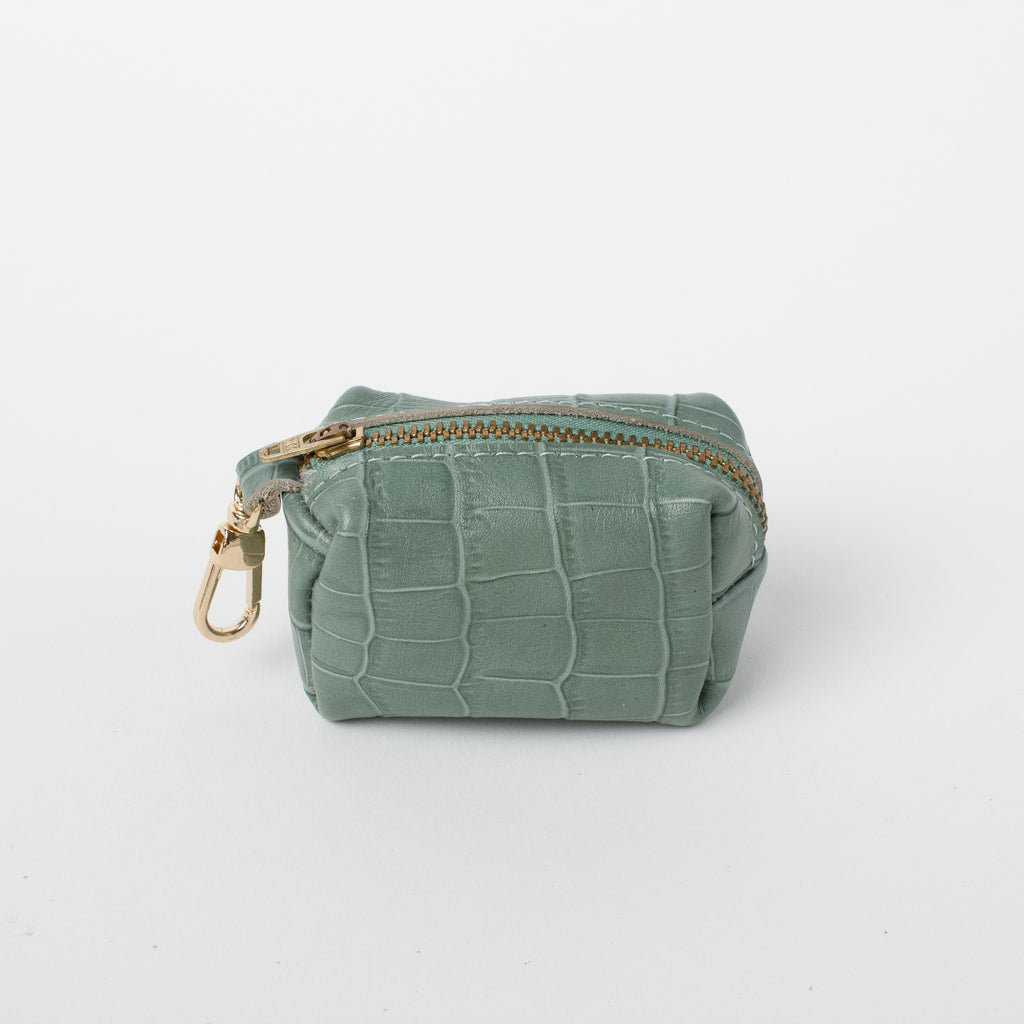 Willow Walks leather poo bag with croc effect in sage green