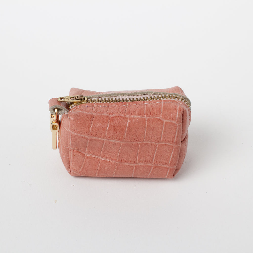 Willow Walks leather poo bag with croc effect in dusky pink
