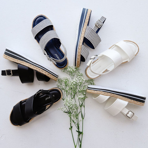 FIESTA-03 NAVY-WHITE STRIPES - FYShoes