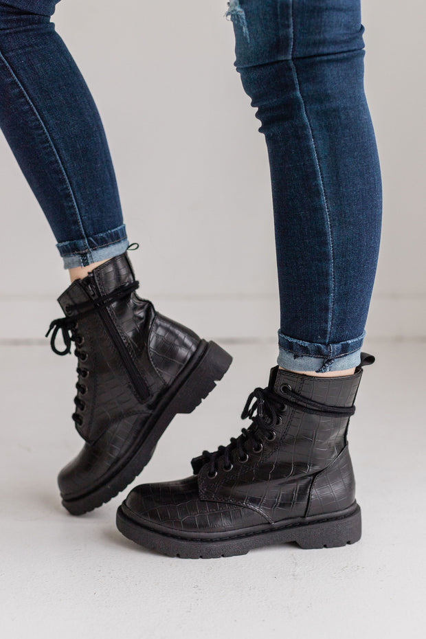 GRUNGE BLACK CROCO - FYShoes