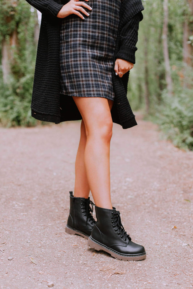 GRUNGE BLACK PU - FYShoes