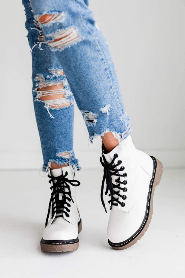 GRUNGE WHITE PAT - FYShoes