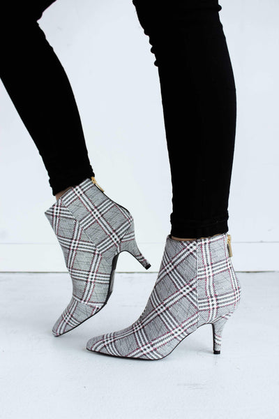 PORTIA-80 PLAID BLACK-WHITE - FYShoes