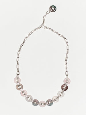 chain collar candies · ágata rosa y gris