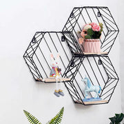 Nordic Wrought Iron Hexagonal Grid Wall shelves