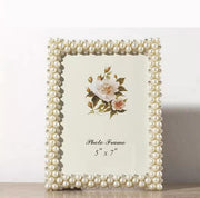 Romantic Wedding Faux Pearl Photo Frame
