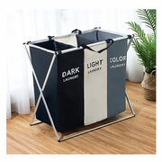 X-shape Collapsible Dirty Clothes Laundry Basket 1/2/3 section