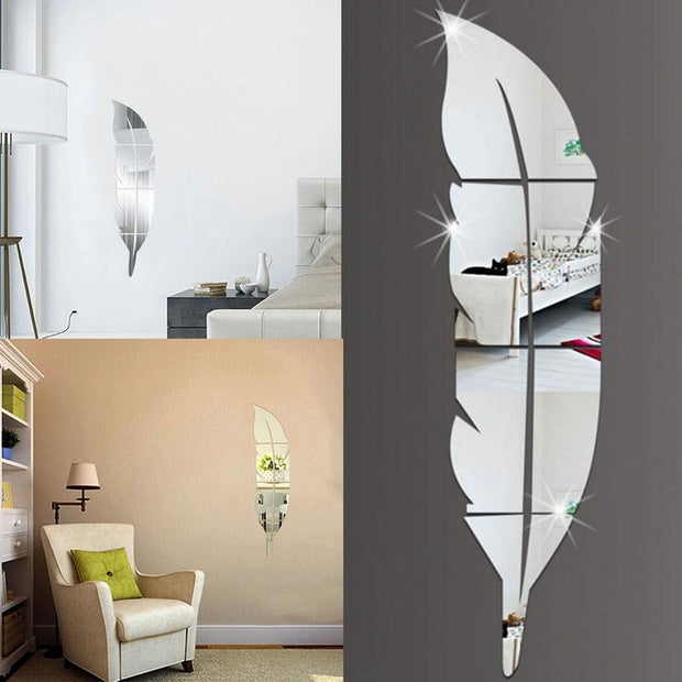 DIY Feather Mirror Wall Stickers