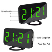 Digital Mirrored LED Alarm Clock / Charger