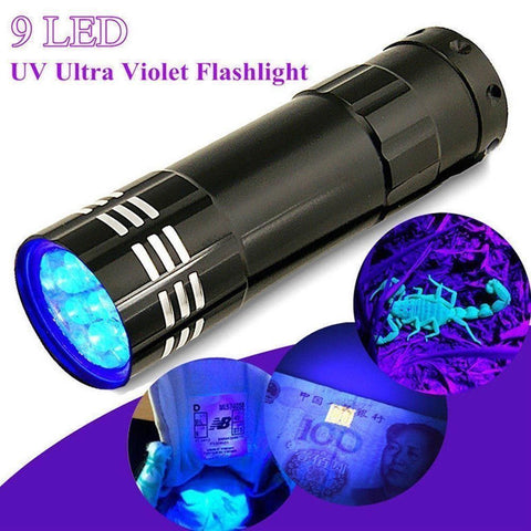 UV Ultra Violet Flashlight 9 LED Torch
