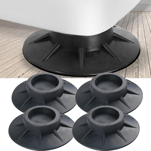4Pcs Floor Mat Elasticity Black Furniture Anti Vibration Protectors Rubber Feet Pads