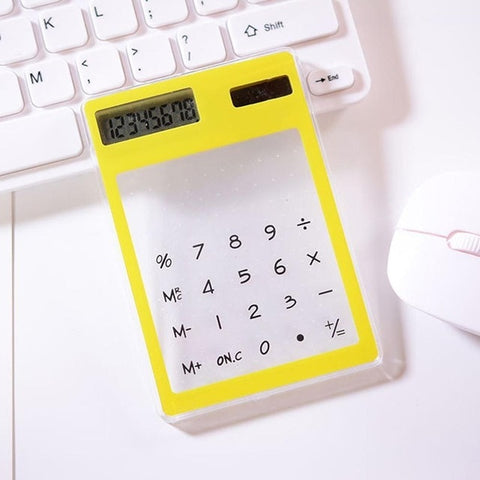 LCD 8 Digit Screen Ultra slim Transparent Solar Calculator