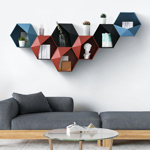 Floating Shelf Wall-Mounted Geometric Punch-Free Mural