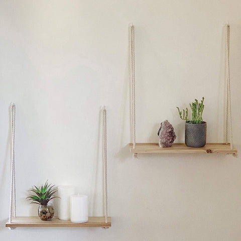 Hanging Wooden Plant Decorative Shelf
