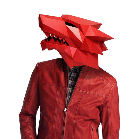 Adults 3D Paper Mask Werewolf Costume