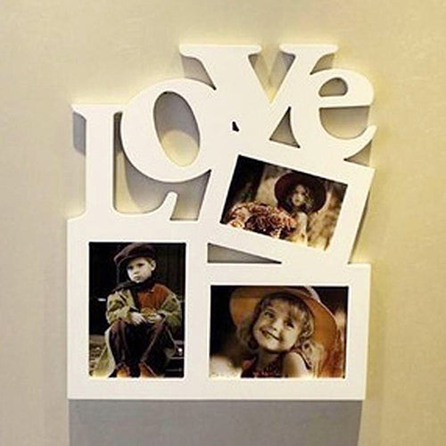 3 in 1 White Hollow Love Wooden Family Photo Frame