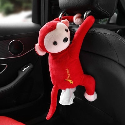 Cartoon Monkey Home Office Car Hanging Paper Napkin Tissue Box Cover Holder
