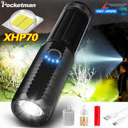 Powerful XHP70 LED Flashlight Torch with USB charging