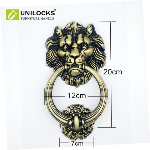 UNILOCKS 20cm Large Antique Lion Door Knocker