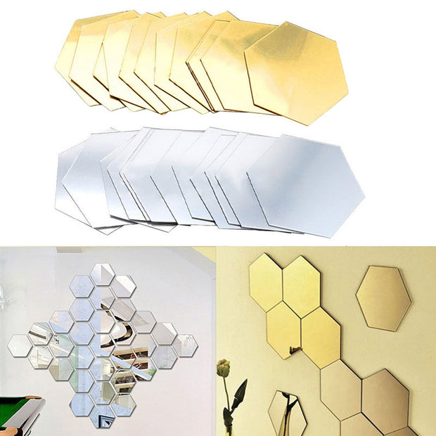 12Pcs 3D Hexagonal Mirror Wall Stickers