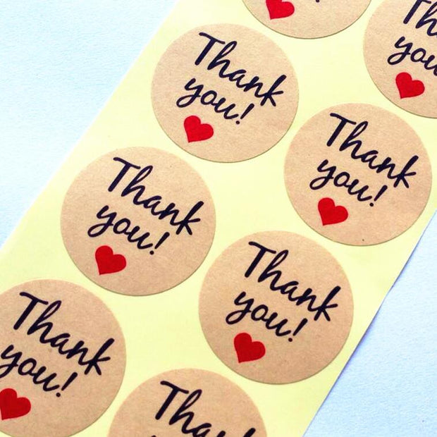 "100pc ""Thank you"" Heart Round Kraft paper Seal sticker"