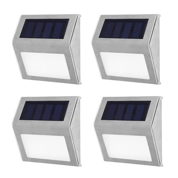 1-4pcs LED Solar Wall Lamp Stainless Steel Waterproof