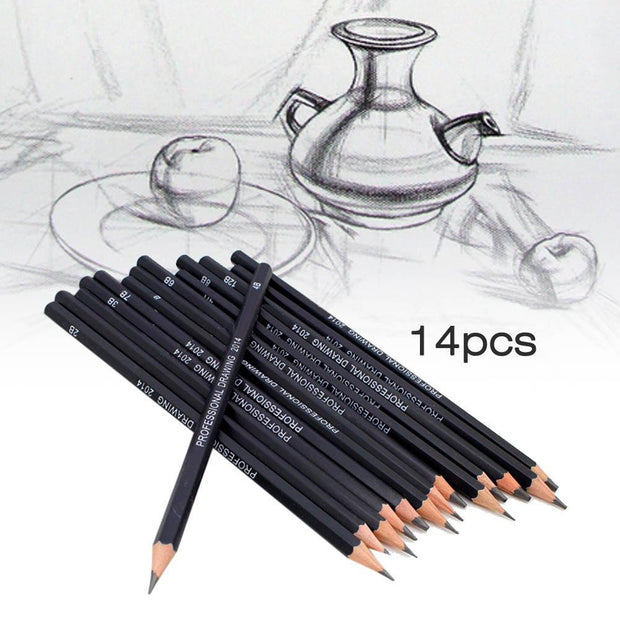 High quality Set Of 14 Drawing Pencils 6H-12B