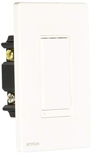 Monoprice Wireless Smart in Wall On Off Light Switch Wall Plate White, Compatible with Alexa and Google Home, No Hub Required Stitch Smart Home Collection