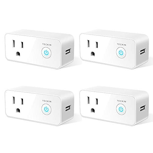 Smart Plug Wifi Outlet USB mini Socket Compatible with Alexa Google Home, Schedule Timer Function Control Electric Allliances Devices, Prevent Overcharging 4 Pack