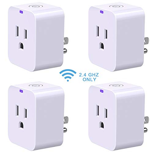 Smart Plug, POWRUI Mini WIFI Outlet Compatible With Amazon Alexa Google Home,No Hub Required Timing Function Control Your Home,ETL certified, 4 pack